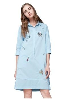 【ZALORA】 OUWEY歐薇 海洋風圖案刺繡直版洋裝
