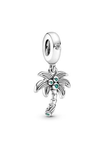 Pandora silver Palm Tree & Coconuts Dangle Charm A6664AC9CB4058GS_1