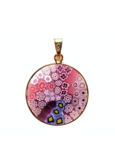 Millefiori Glass Pendant - Cherry Blossom 23mm