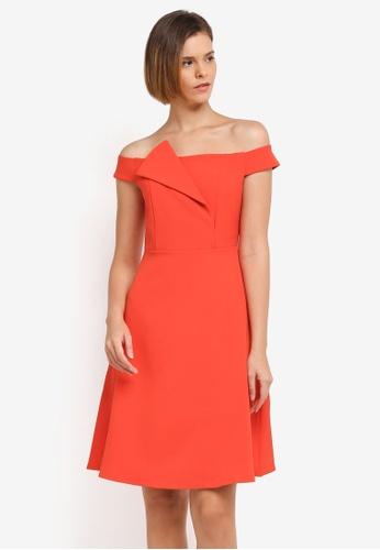 ZALORA orange Structured Off Shoulder Dress A4D21AA2C1F91EGS_1