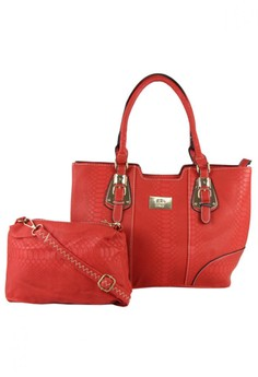 Snake Leather Tote Bag with Sling