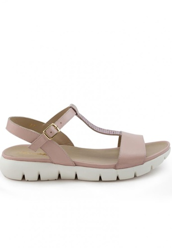 Shu Talk pink Calf Leather Comfy Sporty T-Strap Sandals SH617SH2USEDHK_1