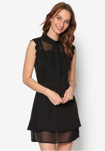 透膚拼接無袖連身裙, 服飾, esprit手錶專櫃洋裝