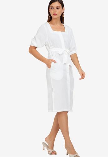 ZALORA WORK white Puff Sleeve Square Neck Midi Dress 44350AADFF0C49GS_1