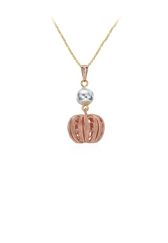 Glamorousky silver Plated Rose Gold Round Pendant with Necklace 286C2ACF086260GS_1