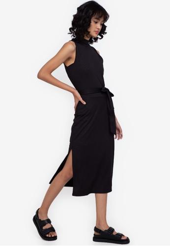 ZALORA BASICS black Turtle-Neck Midi Dress 6F49FAAE58725CGS_1
