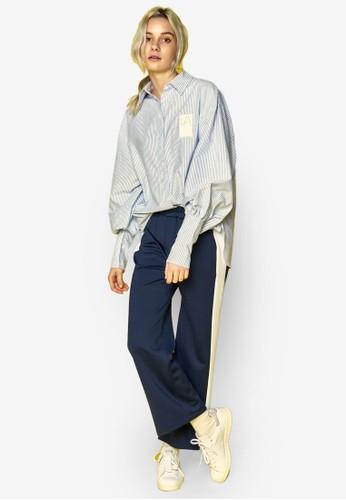 zalora是哪裡的牌子兩用袖口條紋襯衫, 服飾, 上衣