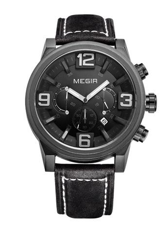 Megir black Japan Design Seiko Movement Megir Steel Watches 3F80CAC648959CGS_1