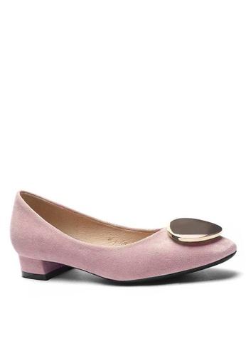 Twenty Eight Shoes 方頭圓扣絨面高踭鞋1205-45 DDFDESHB742B78GS_1