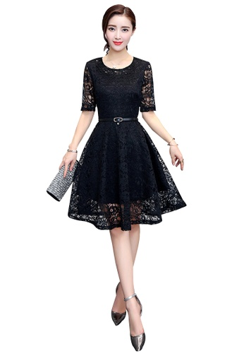 Lara black Lace Round Neck Short Sleeves Dress 9DC91AA75B201AGS_1