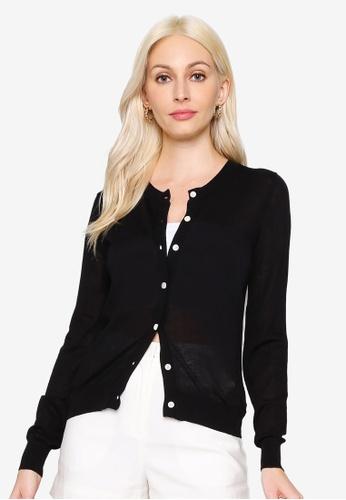 Hopeshow black Long Sleeve Button Cardigan DAF0EAAE34466AGS_1