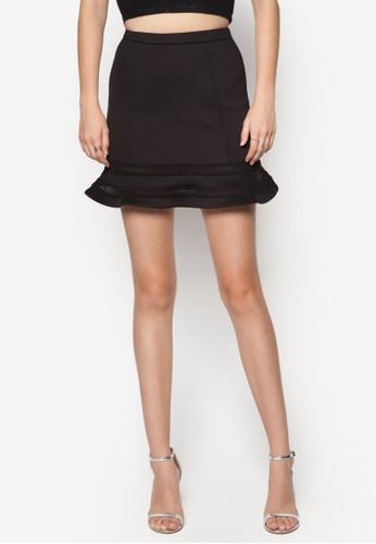 網眼zalora 評價邊飾喇叭短裙, 服飾, 裙子