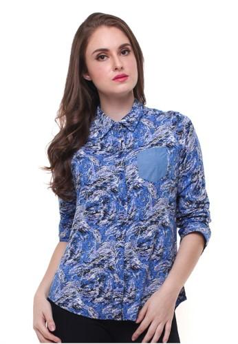 Jual Lgs Lgs Regular Fit Kemeja Wanita Motif Abstrak Biru Original Zalora Indonesia
