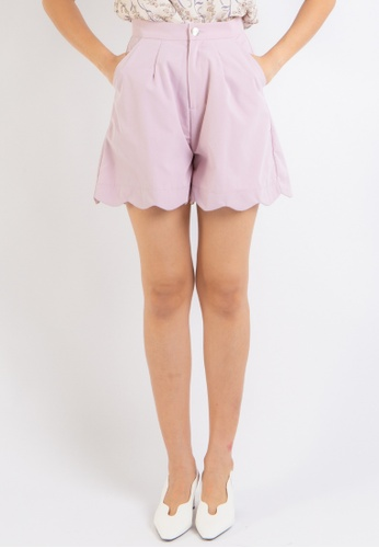 Love Knot pink Honor Scallop Hem Shorts (Pink) D6841AA0563BC1GS_1