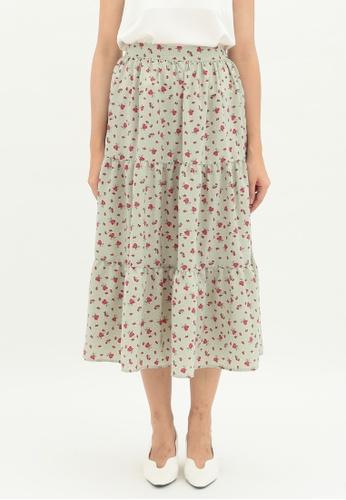 Love Knot green Willow Layered Hem A-line Skirt (Green) EA912AADC08196GS_1