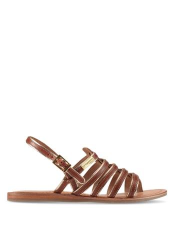 Les Tropeziennes Par M. Belarbi brown Herbier Tan Gold Multi Strap Leather Sandals 106FESH4CF9D3AGS_1
