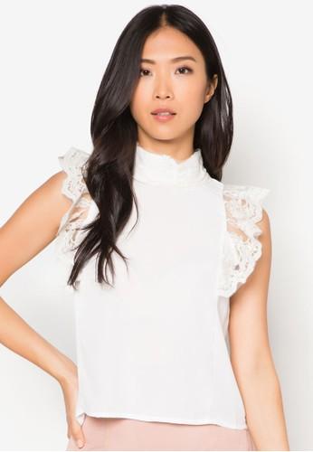 蕾絲蓋袖高領上esprit台灣官網衣, 服飾, 服飾