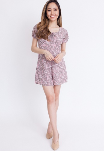 Hook Clothing grey and purple and multi Floral Print Romper A8CF8AAFCF6380GS_1