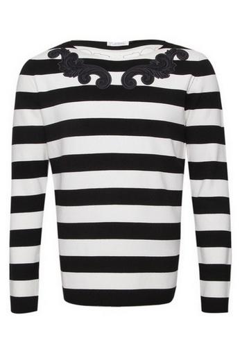 Versace black Versace Patch Details Stripes Sweater in Black,White 514ADAA7EE2F1CGS_1