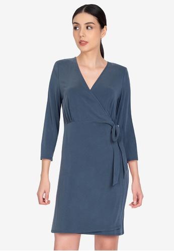 Origin by Zalora navy Wrap Dress made from TENCEL™ D71F9AA80934A9GS_1