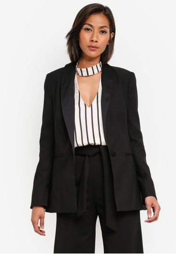 Miss Selfridge black Black Crop Tuxedo Blazer MI665AA0SAC5MY_1