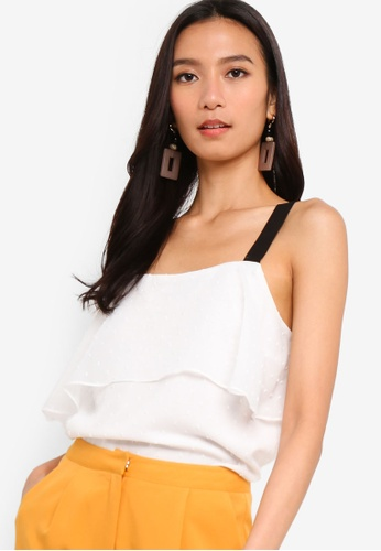 ZALORA 黑色 and 白色 Tiered Top 77AF6AAE6A064CGS_1