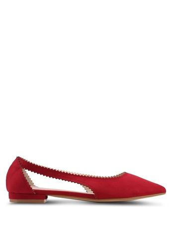 Velvet red Toothed Edge Ballerina AA744SHC554CB2GS_1