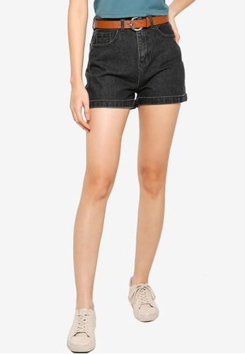 ZALORA BASICS black Denim Mom Fit Shorts with Belt 08A9FAA076297FGS_1