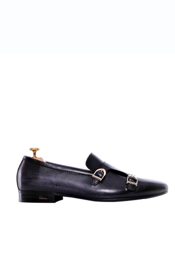 Zeve Shoes black and grey Zeve Shoes Loafer Slipper - Black Grey Double Monk Strap (Hand Painted Patina) C32C1SH0BCE0F8GS_1