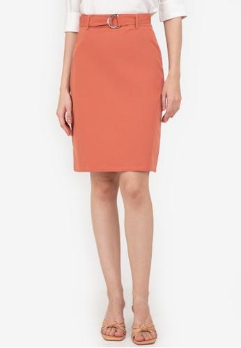 ZALORA WORK pink D Ring Belt A Line Skirt C4410AA68F8BB3GS_1