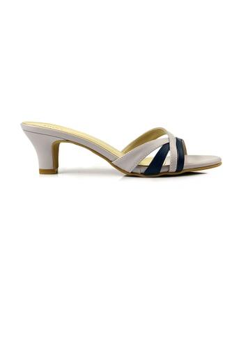 SHINE blue and beige SHINE Slip On Open Toe Sandals 41101SH04C073BGS_1