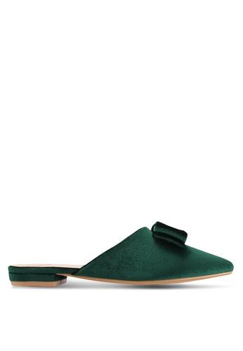 Velvet green Bow Backless Flats 55D91SHCFC6286GS_1