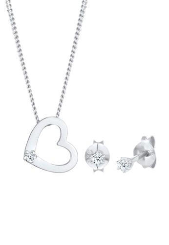 Elli Germany white Perhiasan Wanita Perak Asli - Silver Perhiasan Set Heart Diamond Original C66DDACC25371BGS_1