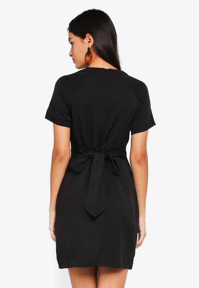 Sleeve Dress With Belt Raglan Self Black ZALORA 6a7wwT1xq