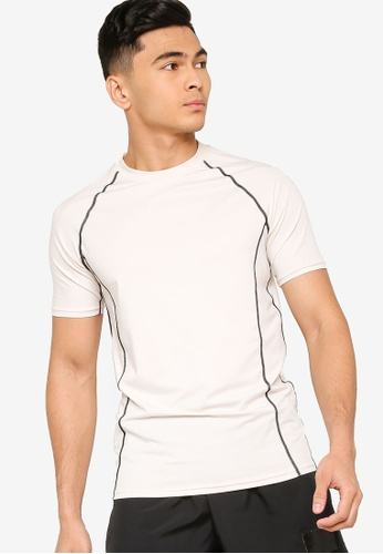 ZALORA ACTIVE beige Active Contrast Stitching Raglan T-shirt C2A89AA63DF083GS_1