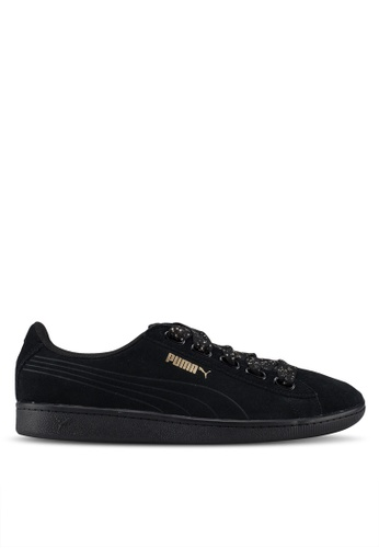 Puma black Sportstyle Core Puma Vikky Ribbon Dots Shoes 501B6SH12368C1GS_1