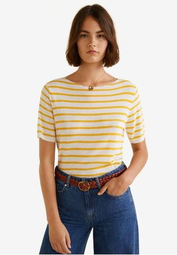 Mango yellow Striped Jersey T-Shirt 8C881AA6717069GS_1
