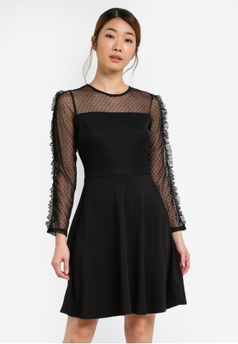 Dorothy Perkins black Black Mesh Fit And Flare Dress DO816AA0SFA0MY_1