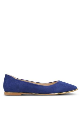 ZALORA 海軍藍色 金邊質感麂皮平底鞋 63C4BSH1B27B71GS_1