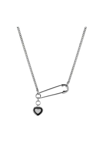 LYCKA silver LDR1278 S925 Silver Heart and Safety Pin Necklace 027DBAC68E4F8AGS_1