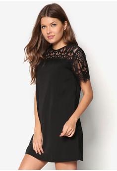 Love Lace Yoke And Sleeves Swing Dress