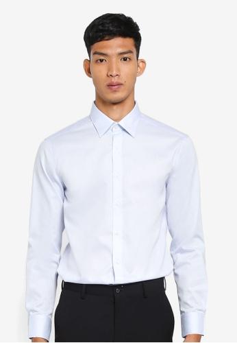 G2000 blue Dobby Twill Long Sleeve Shirt C9E2FAA1E6D4DEGS_1