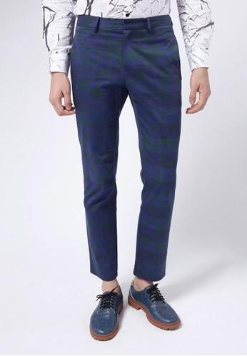 Life8 x Danieesprit outlet 桃園l Wong。圖騰斜紋西裝長褲-03659-藍色, 服飾, 直筒褲