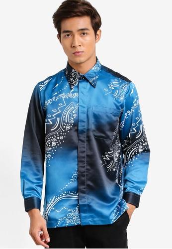 Gene Martino blue and multi Long Sleeve Batik Shirt GE222AA94HCZMY_1