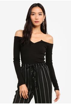 4a15a6b3dd MISSGUIDED black Notch Neck Long Sleeve Bardot Bodysuit C347DAAC880160GS 1