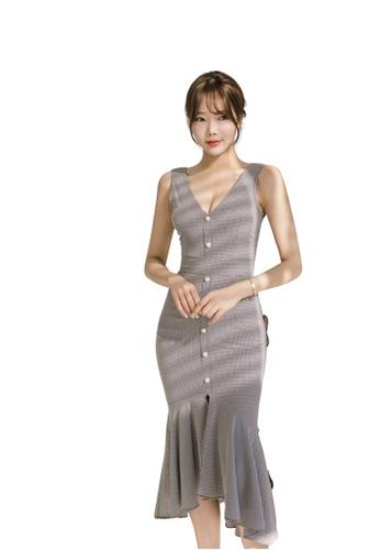 ff9bc274dd Sunnydaysweety grey 2018 S S New V-Neck Checkered Vest One Piece Dress  UA031990