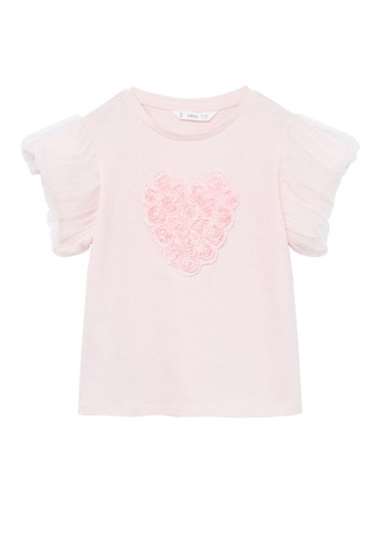 MANGO KIDS pink Applique Organic Cotton T-Shirt 395F5KA2D4C46CGS_1