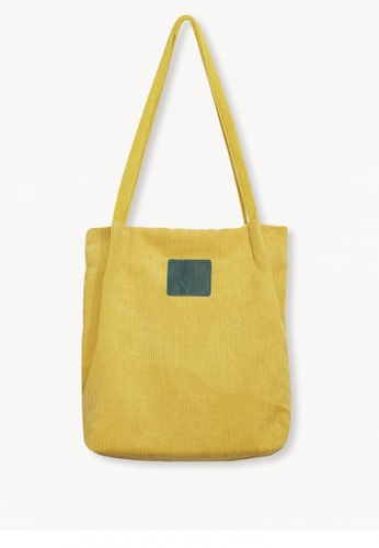 c616d4c562f Shop Pomelo Corduroy Tote Bag - Yellow Online on ZALORA Philippines