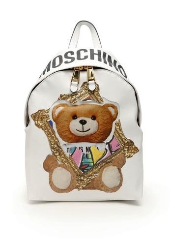 MOSCHINO white Moschino Frame Teddy Bear Backpack White A7636 44C57AC34CB7E9GS_1