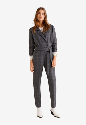 Mango grey Long Check Jumpsuit 9C5F6AA202A235GS_1